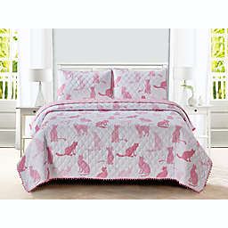 Sleeping Partners Cat Pom Pom 3-Piece Reversible Full Quilt Set in Pink