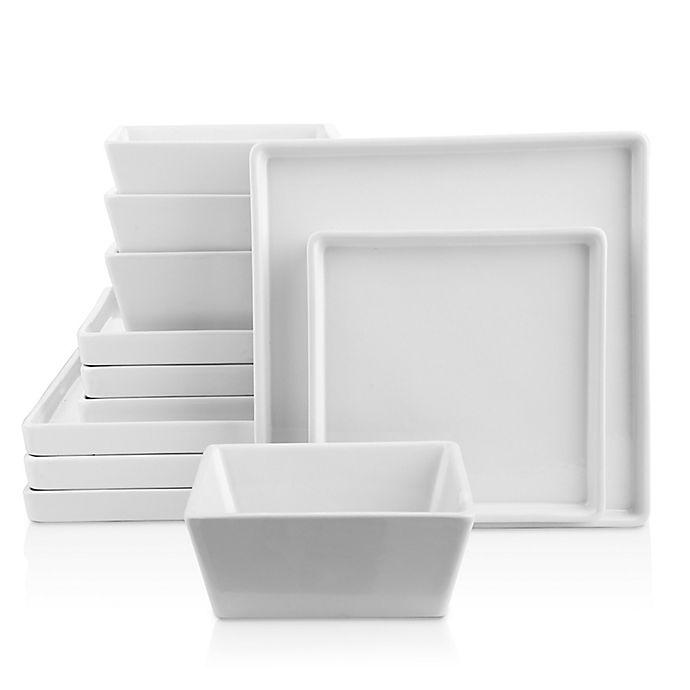 Alternate image 1 for Stone Lain Grace 12-Piece Square Dinnerware Set in White