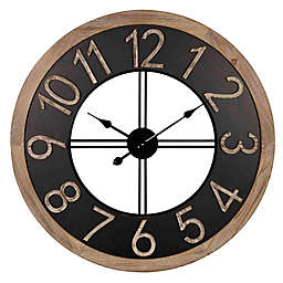 Stratton Home Décor Harold 30-Inch Wood and Metal Wall Clock in Black