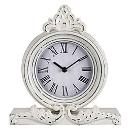 Stratton Home Décor George Metal Tabletop Clock in White