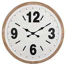 Stratton Home Décor Benjamin 30-Inch Wood Wall Clock in White