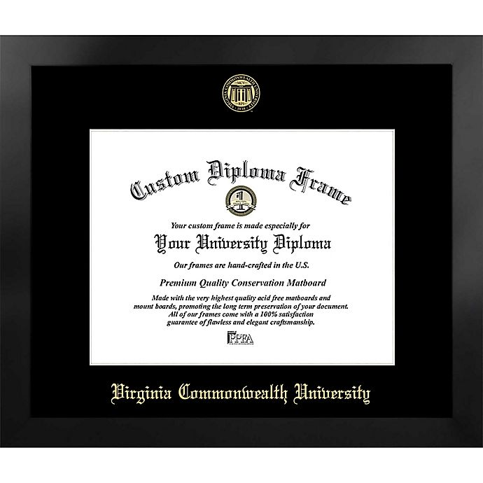 Alternate image 1 for Virginia Commonwealth University 19-Inch x 22-Inch Gold Foil Seal Diploma Frame in Black