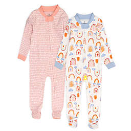 The Honest Company® Size 24M 2-Pack Rainbow Toss Organic Cotton Footed Pajamas