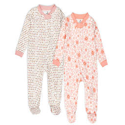 The Honest Company® 2-Pack Peach Floral Organic Cotton Footed Pajamas