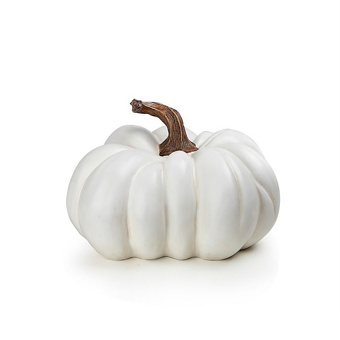 Alternate image 1 for Large Resin Pumpkin Decoration in White