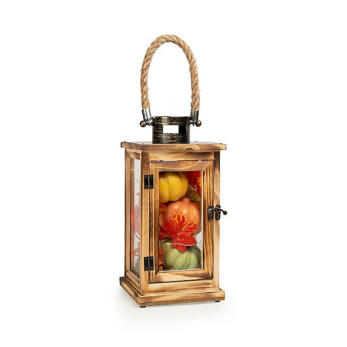 Alternate image 1 for Fall LED Lantern Filled with Faux Pumpkins in Orange/Green