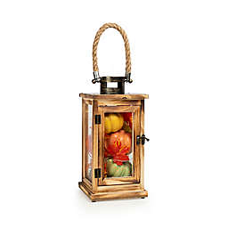 Fall LED Lantern Filled with Faux Pumpkins in Orange/Green