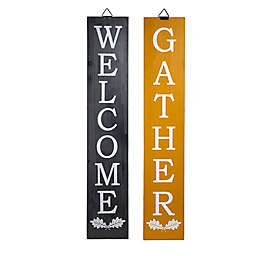 """""""Welcome"""" and """"Gather"""" Porch Signs in Black/Gold"""