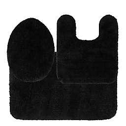 Nestwell™ Soft Plush 3-Piece Bath Rug Set in Jet Black