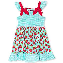 Nannette Baby® Strawberry Plaid Poplin Dress in Blue