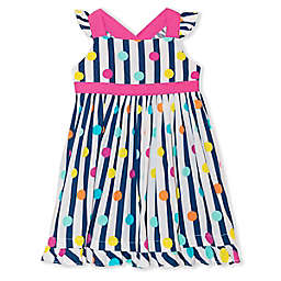 Nannette Baby® Multi-Stripe Polka Dot Dress in Navy