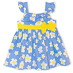 Nannette Baby® Floral Striped Poplin Dress in Yellow/Blue