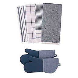 Our Table™ Select 6-Piece Dual Purpose Kitchen Towels and Oven Mitts Set in Navy
