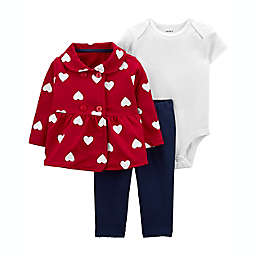carter's® 3-Piece Valentine's Day Little Cardigan Set in Red