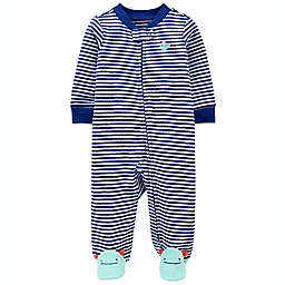 carter's® Size 9M Monster Terry Snap-Up Sleep 'N Play in Blue