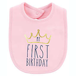 "carter's® ""My First Birthday"" Teething Bib in Pink"