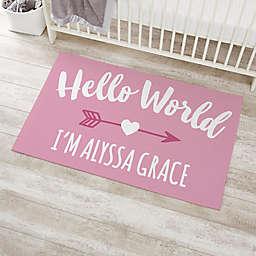 Hello World Personalized Nursery Area Rug