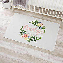 Floral Baby Girl Personalized Nursery Area Rug