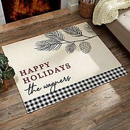 Festive Foliage Personalized Christmas Area Rug