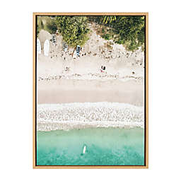 DesignOvation Sylvie Woman Floating 23-Inch x 33-Inch Framed Canvas Wall Art in White