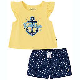 Nautica® Size 3-6M 2-Piece Short Set in Navy/Yellow