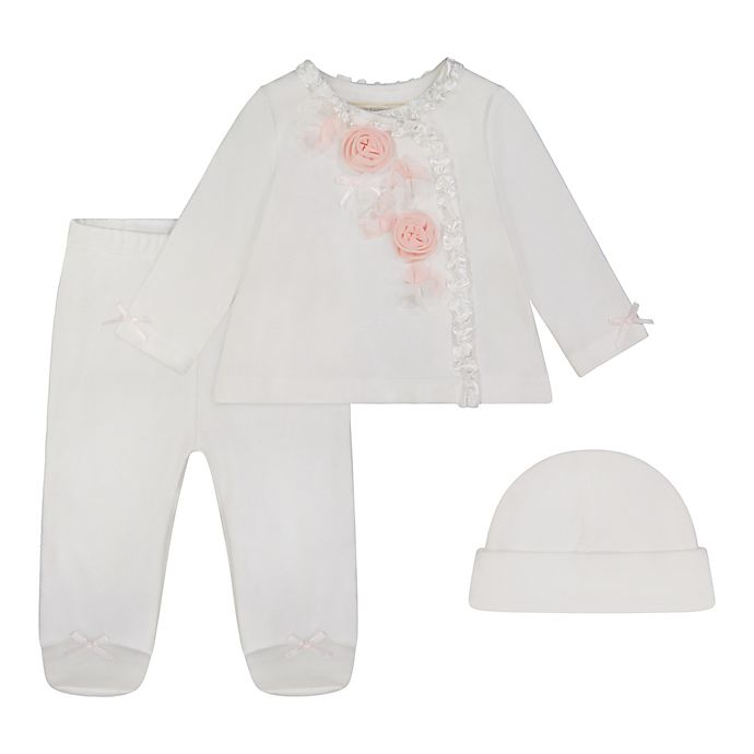 Alternate image 1 for Clasix Beginnings™ by Miniclasix® 3-Piece Top, Footed Pant, and Hat Set in Ivory
