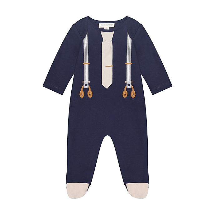 Alternate image 1 for Clasix Beginnings by Miniclasix® Preemie Mock Suspenders Bodysuit in Navy