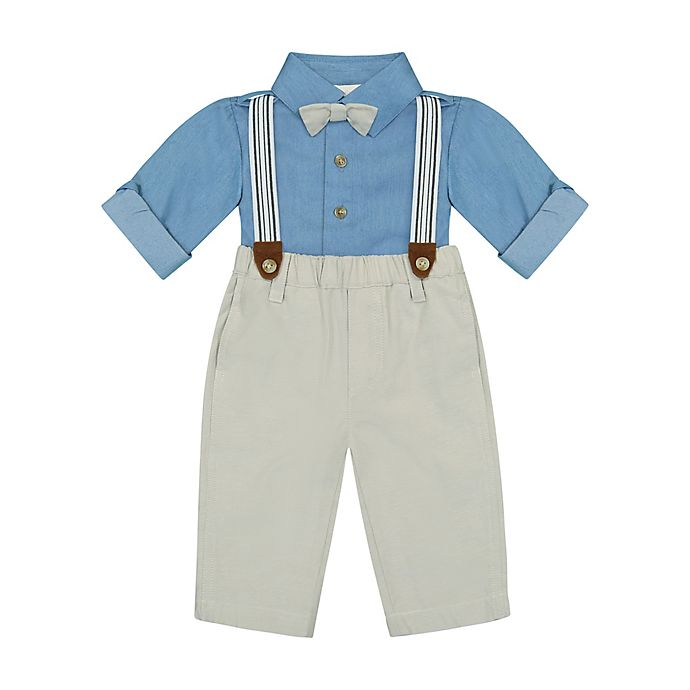 Alternate image 1 for Clasix Beginnings™ by Miniclasix® 3-Piece Shirt, Pant and Suspender Set