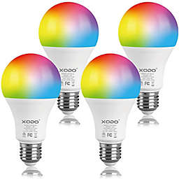 XODO® LB3 4-Pack Smart Wi-Fi Color-Changing Dimmable A19 LED Light Bulbs