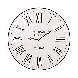Glitzhome® 31-Inch Round Oversized Farmhouse Metal Enamel Wall Clock