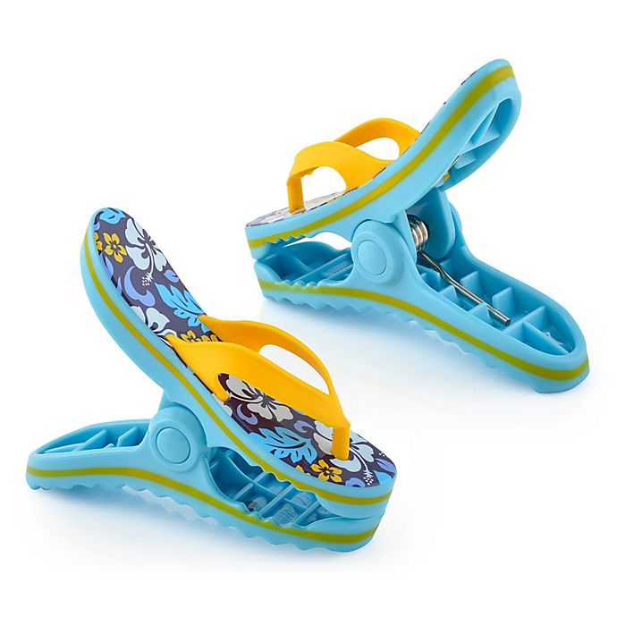 Alternate image 1 for O2COOL® Flower Flip Flop Boca Beach Towel Clips® in Blue (Set of 2)