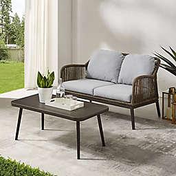 Crosley Haven 2-Piece Outdoor Wicker Patio Conversation Set in Light Grey