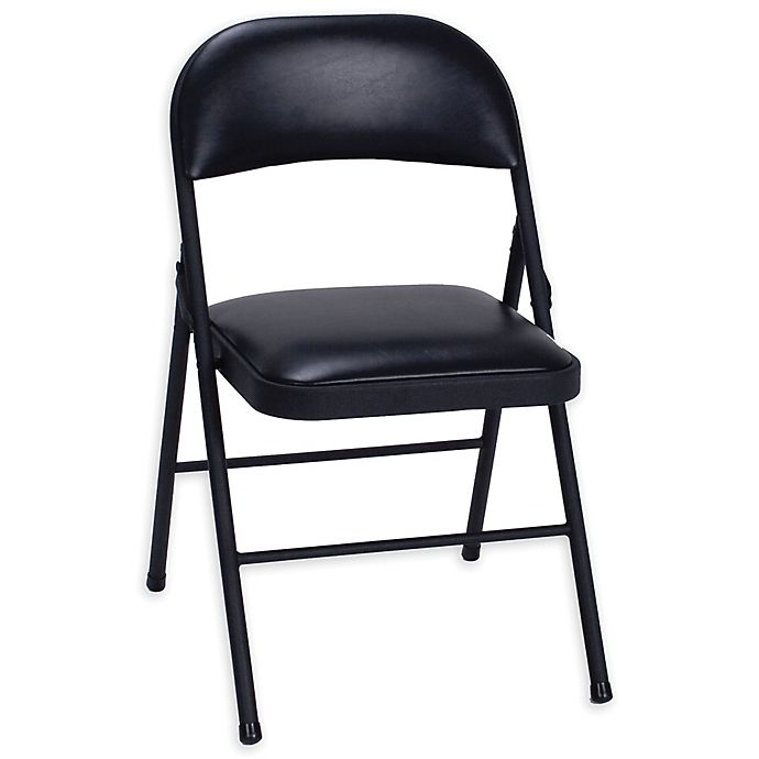 Alternate image 1 for Simply Essential™ Vinyl Folding Chair in Black