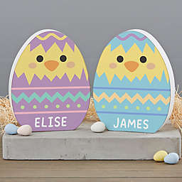 Chick Wooden Easter Egg Shelf Decoration in Yellow