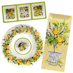 Certified International Lemon Zest 3-Piece Melamine Hostess Set