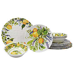 Certified International Lemon Zest 12-Piece Melamine Dinnerware Set