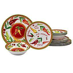 Certified International Red Hot 12-Piece Melamine Dinnerware Set