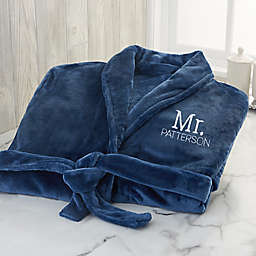 Stamped Elegance X-Large Wedding Embroidered Luxury Fleece Robe in Navy