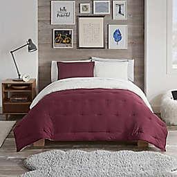 UGG® Devon Faux Sherpa 2-Piece Reversible Twin/Twin XL Comforter Set in Cabernet