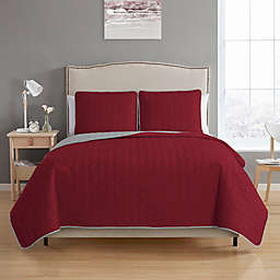 MHF Home Bethany Reversible Full/Queen Quilt Set in Burgundy/Grey