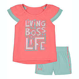 Under Armour® Living the Boss Life Tee and Short Set in Pink/Aqua
