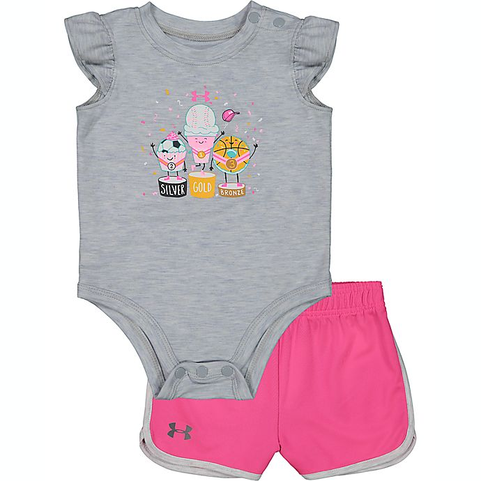Alternate image 1 for Under Armour® Medal Ceremony Tee and Short Set in Grey/Pink