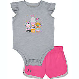 Under Armour® Size 0-3M Medal Ceremony Tee and Short Set in Grey/Pink