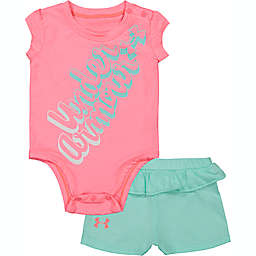 Under Armour® 2-Piece Bubble Wordmark Bodysuit and Short Set in Pink