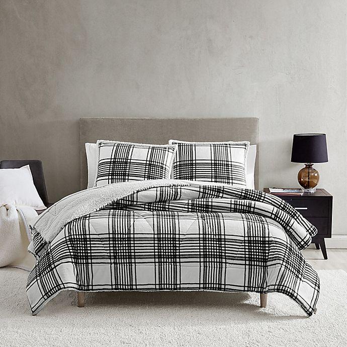 Alternate image 1 for UGG® Avery 3-Piece Reversible King Comforter Set in Black/White Plaid