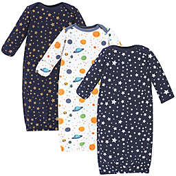Hudson Baby® Size 0-6M 3-Pack Quilted Cotton Gowns in Blue