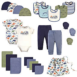 Touched by Nature Size 0-6M 25-Piece Dino Organic Cotton Layette Baby Gift Set in Blue