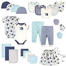 Touched by Nature Size 0-6M 25-Piece Wood Organic Cotton Layette Baby Gift Set in Blue