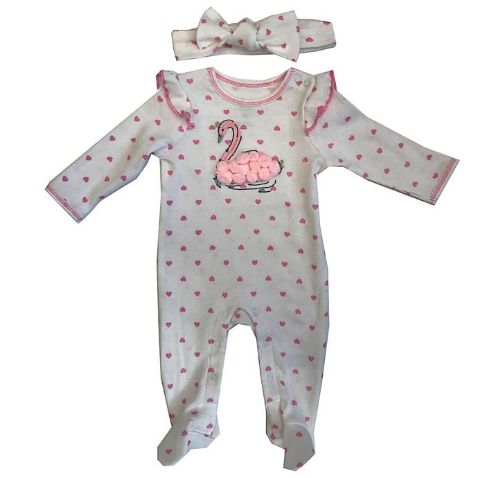 Alternate image 1 for Sterling Baby 2-Piece Swan Long Sleeve Footie and Headband Set in White/Pink