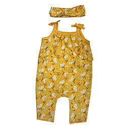 Sterling Baby 2-Piece Flowers Sleeveless Romper and Headband Set in Yellow